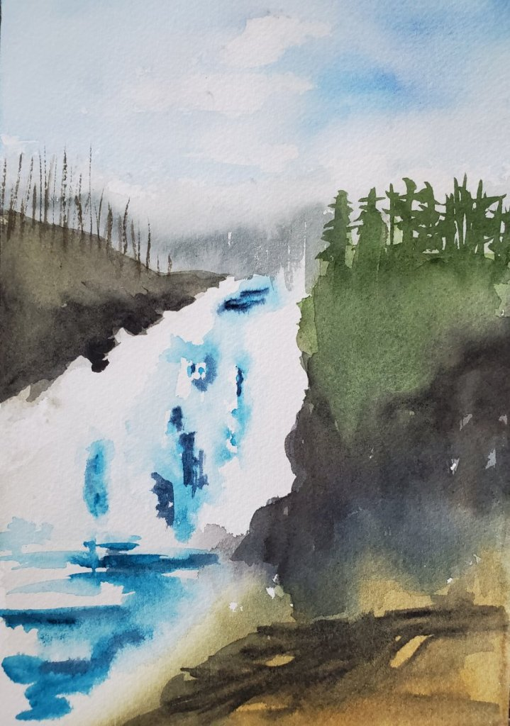 For prompt #waterfall, this repost of a lesson from Angela Fehr. I'd like to try another in an