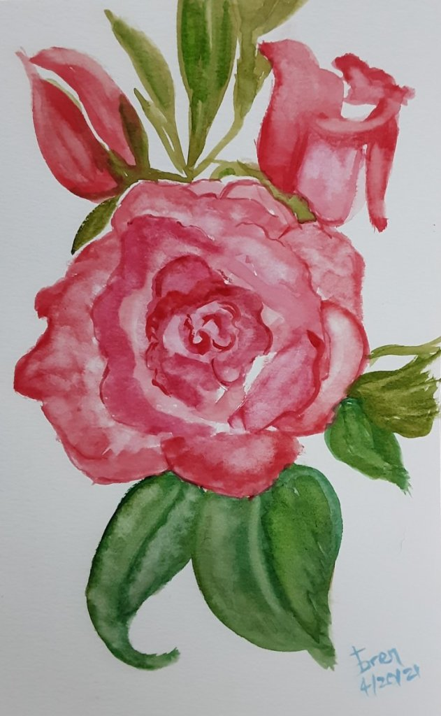ROSES, my first without starting off with a pencil drawing 20210418_211457