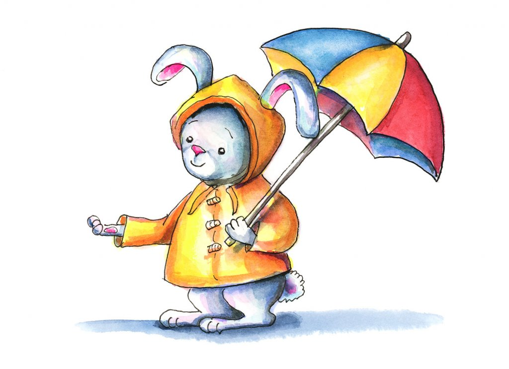 Bunny Yellow Raincoat Umbrella Watercolor Illustration