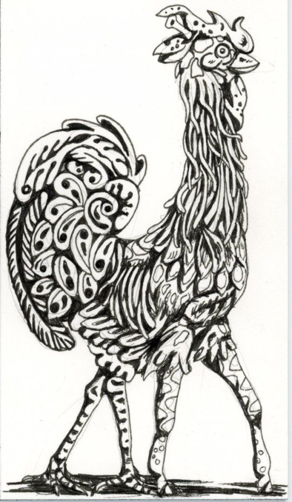 I'm jumping ahead a bit with #DoodlewashApril2021 Prompts: Giraffe & Rooster. The Girooste