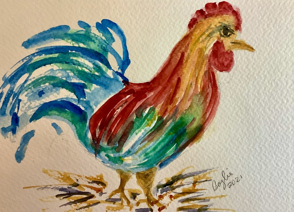 #doodlewashapril 2021 day 17 rooster IMG_3064