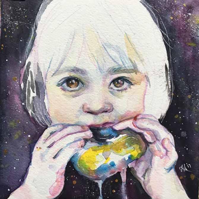 Little Girl Eating Donut by Lauren Arno