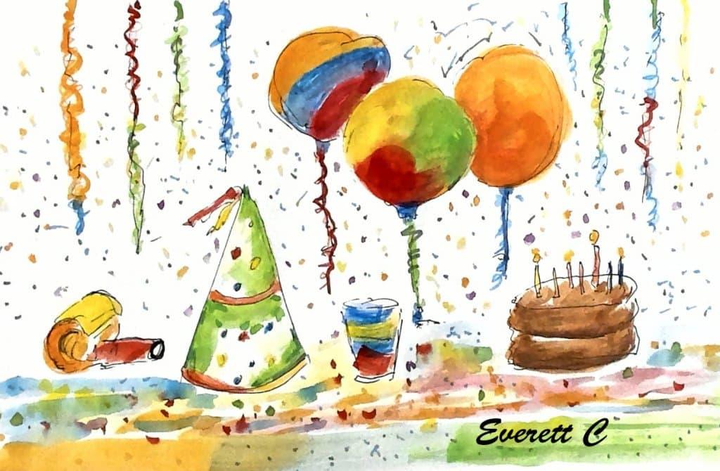 "Watercolor sketch, ""Party Things."" #ArtPainting #EverettsWatercolors #DoodleWashApril202"