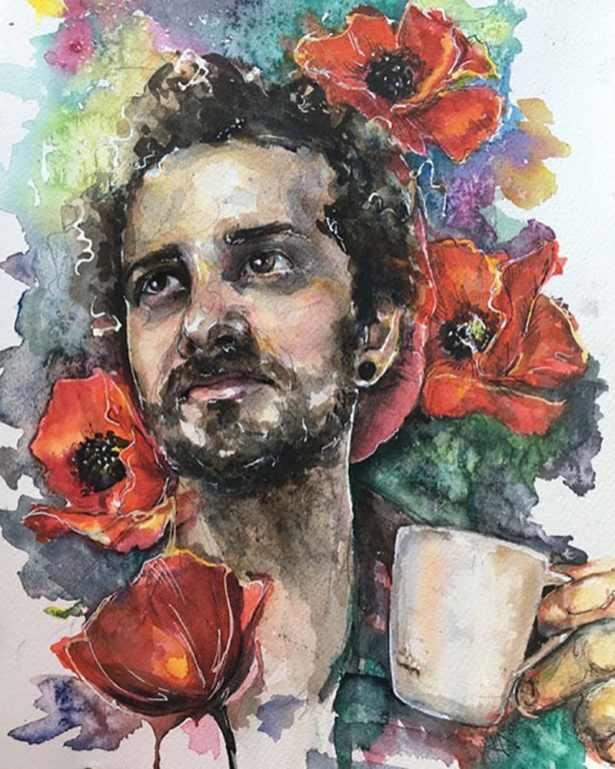 Portrait of Man Drinking Coffee Flowers