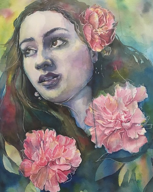 Watercolor painting woman with pink flowers Lauren Arno