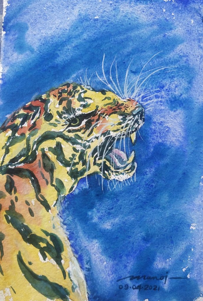 Dt: 09.04.2021 Sub: TIGER Watercolor painting on handmade paper inbound3082004509921447887