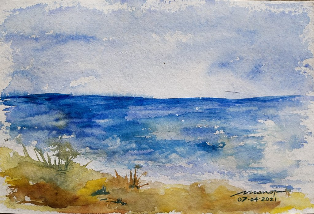 Dt: 07.04.2021 Sub: BEACH Watercolor painting on handmade paper inbound7093725700849085833