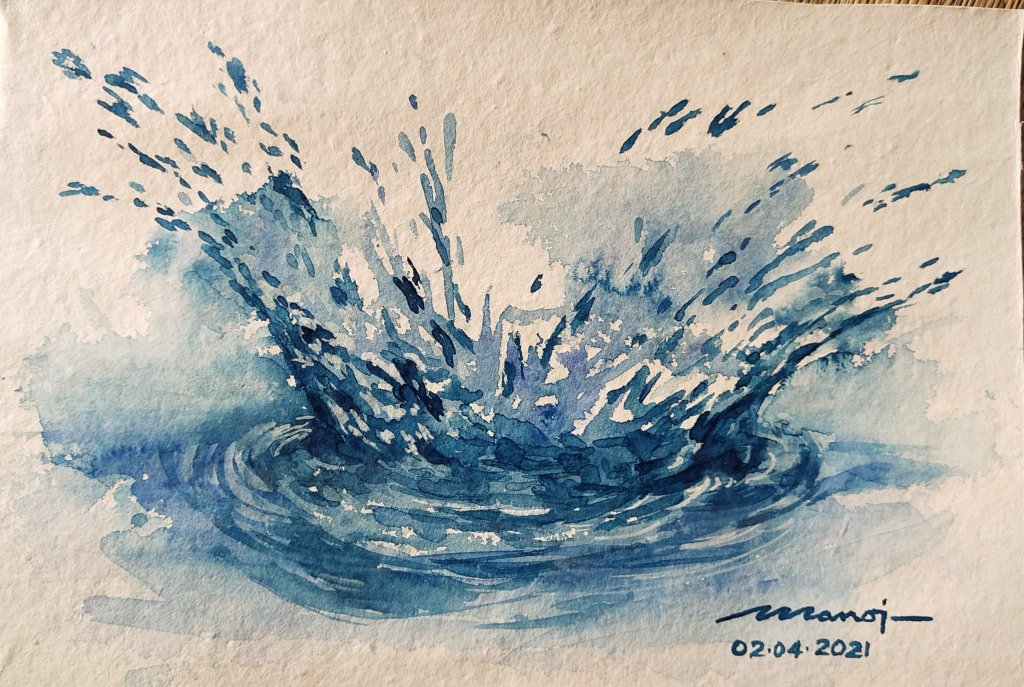 Dt: 02.04.2021 Sub: SPLASH Watercolor painting on handmade paper inbound7554470870852646058