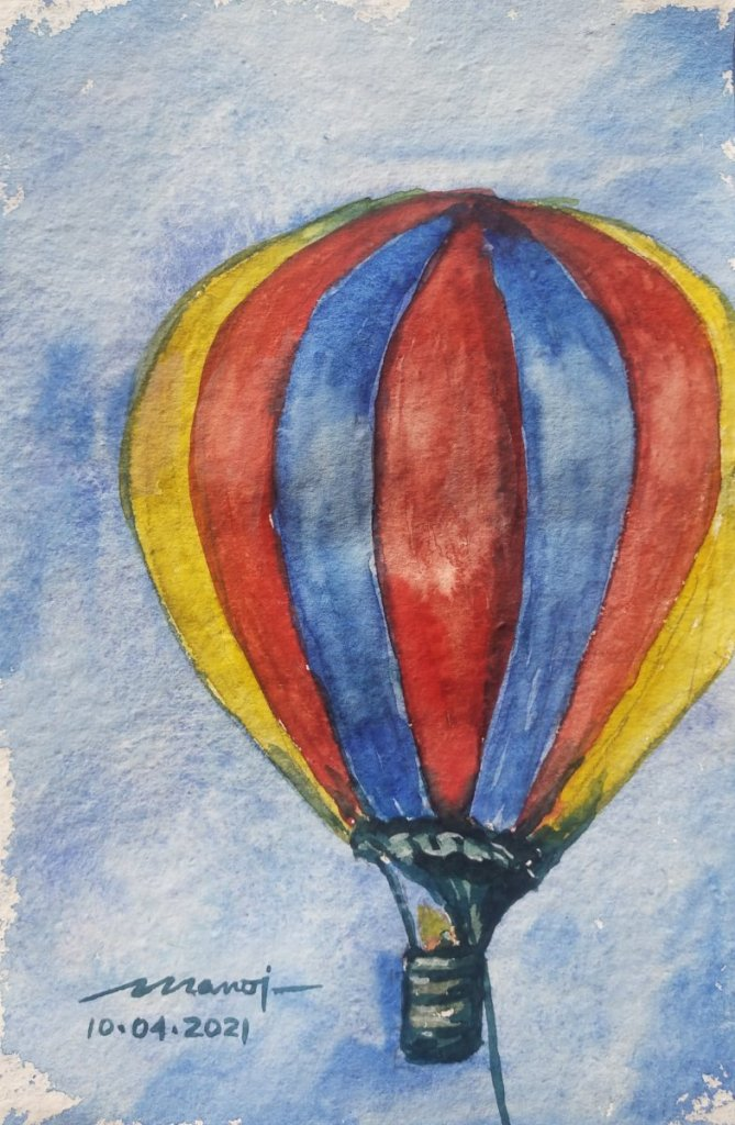 Dt: 10.04.2021 Sub: HOT AIR BALLOON Watercolor painting on handmade paper inbound849287088003896672