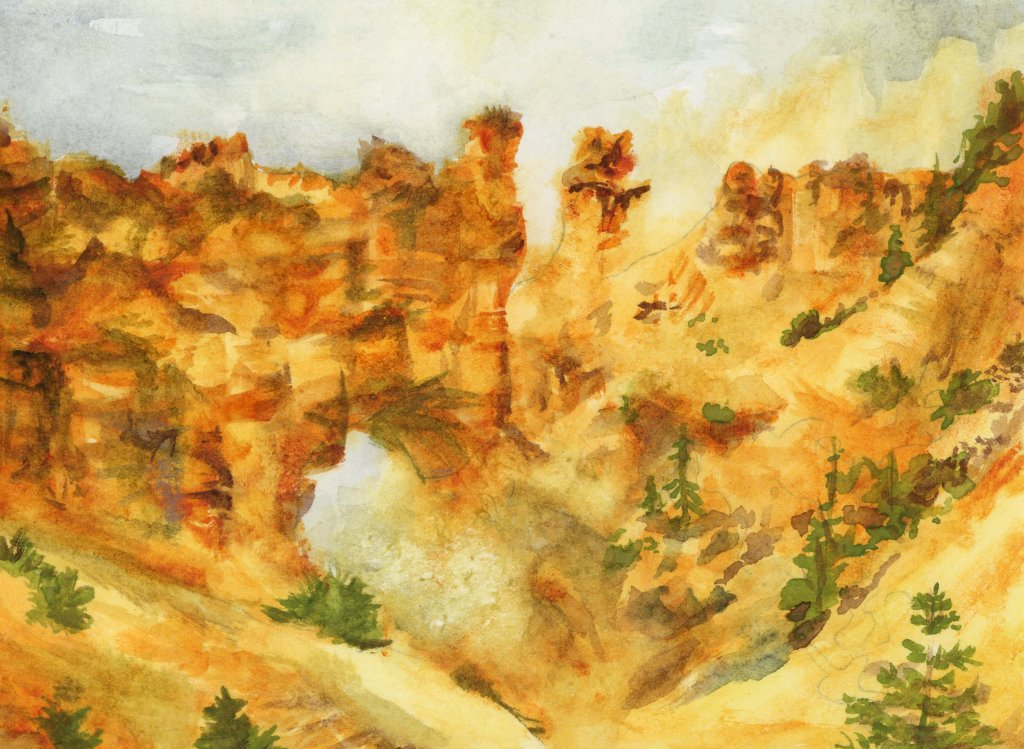#doodlewashMay2021 prompt: Bridge. Did you know that despite its name, Bryce Canyon is not technical