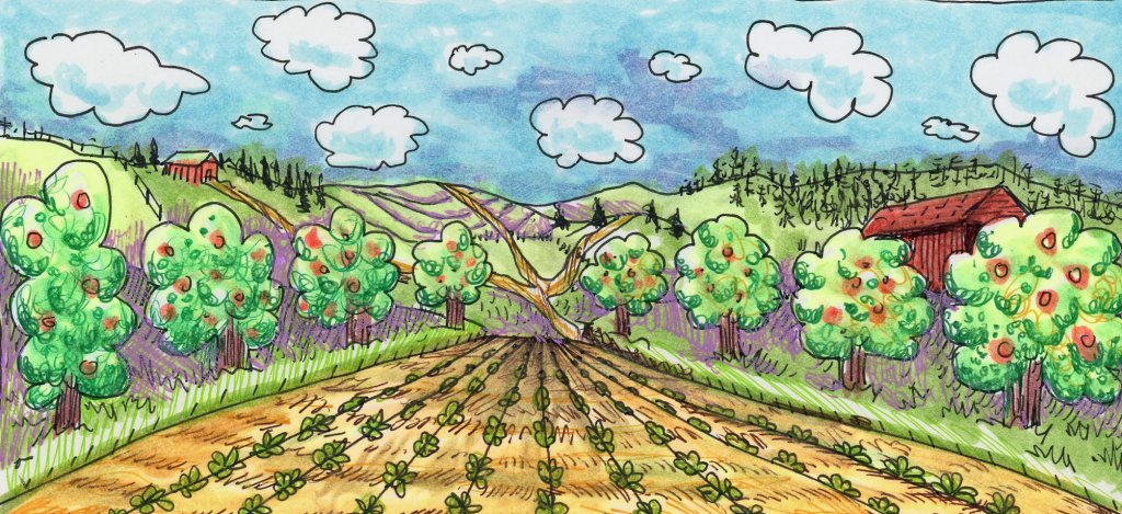 #DoodlewashMay2021 Prompt: Countryside & Clouds. Done while sitting in the airport between fligh