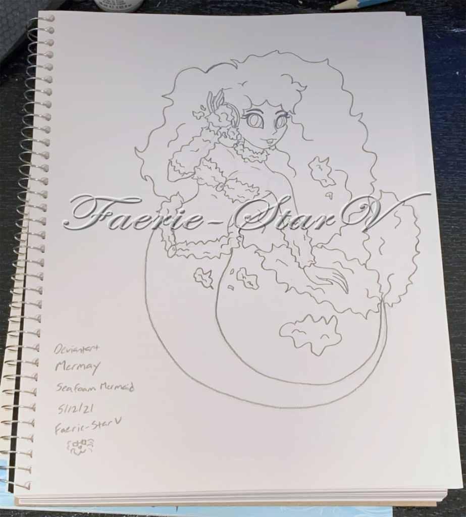 I drew Sea Foam mermaid from Deviantart's Mermay list of 2021. I had way more fun drawing her