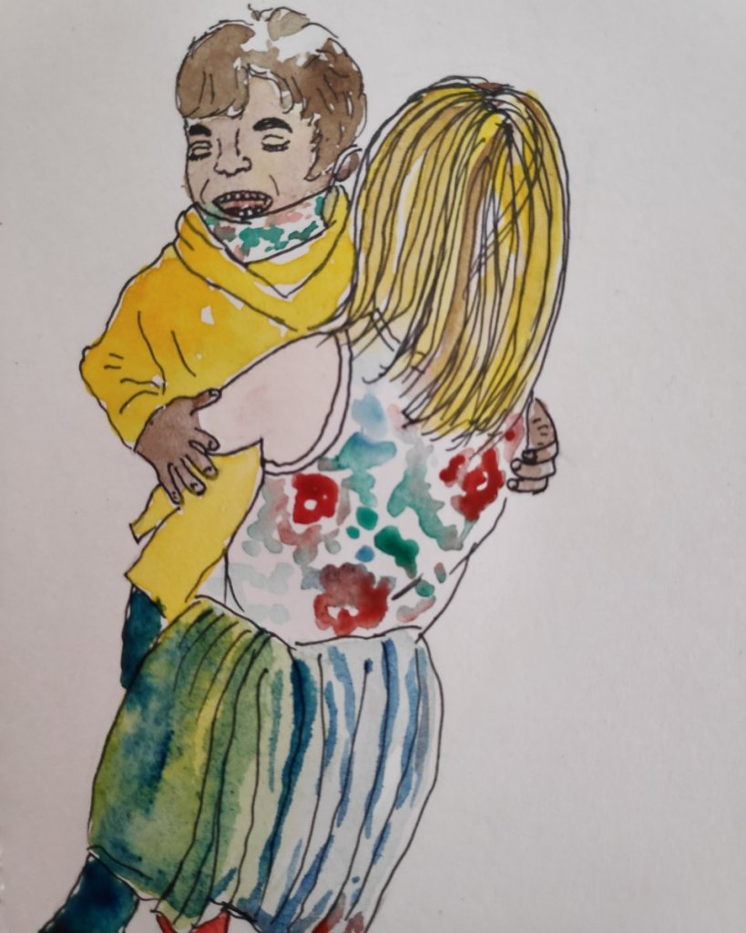 #day5 #children #doodlewashmay2021 #worldwatercolorgroup My nephew hugging his friend as they go bac