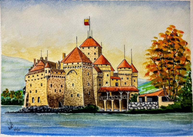 I based this painting on the Chillon Castle on Swiss Lake Leman…. I hope you all like this one