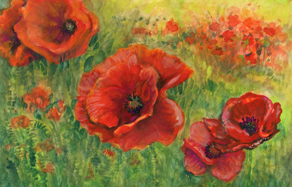 #DoodlewashMay2021 Prompts: Waving. Poppies waving in the field in remembrance of those who have fal