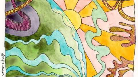 Rebecca Fish Ewan early pandemic watercolor doodle a 3.2020