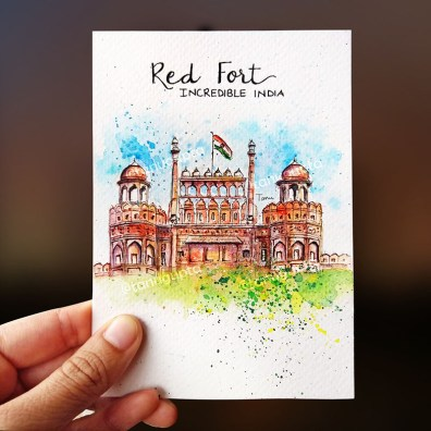 Red Fort India Mini Watercolor Painting