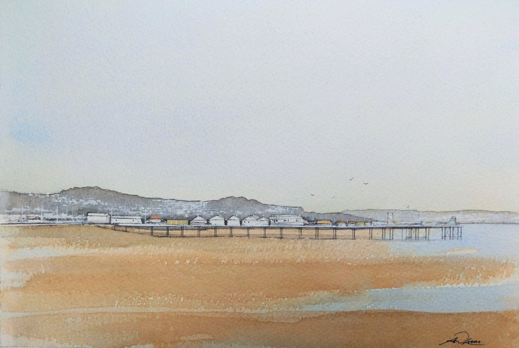 """ Summer Dreaming "", Paignton Sands, England. Andrew Lucas Watercolour, 20 x 30 cm, I ho"
