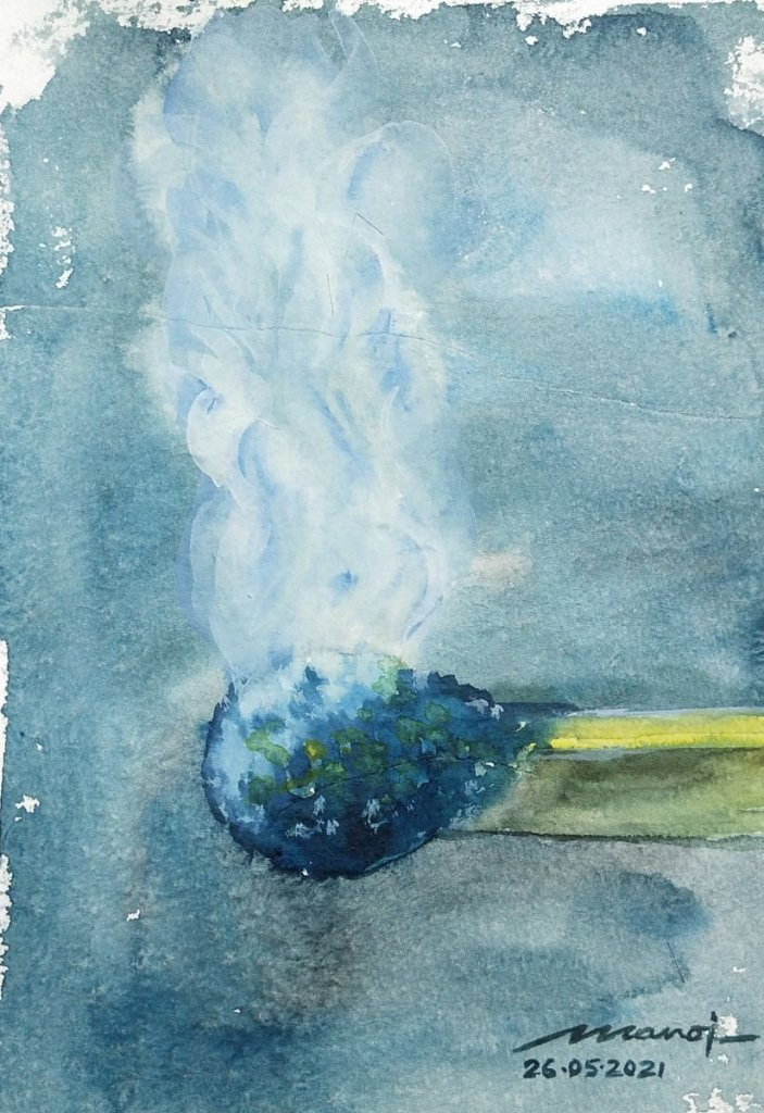 Dt: 26.05.2021 Sub: SMOKE Watercolor painting on handmade paper inbound1460267966256329247
