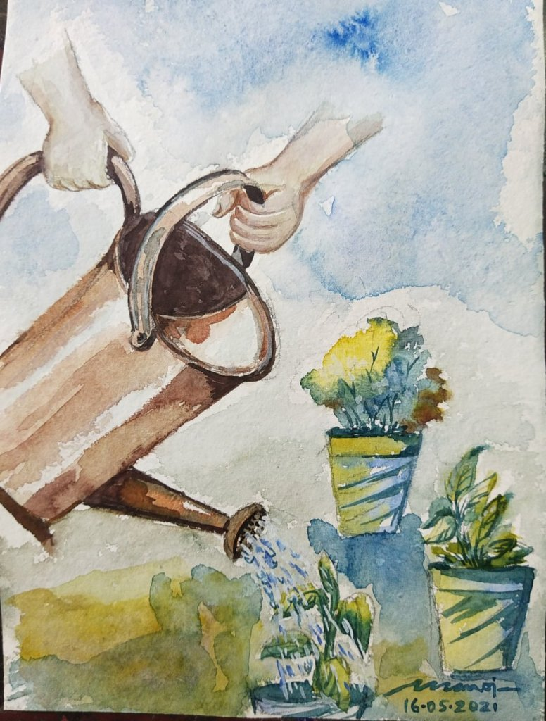 Dt: 16.05.2021 Sub: GARDENING Watercolor painting on handmade paper inbound2274996500815966993