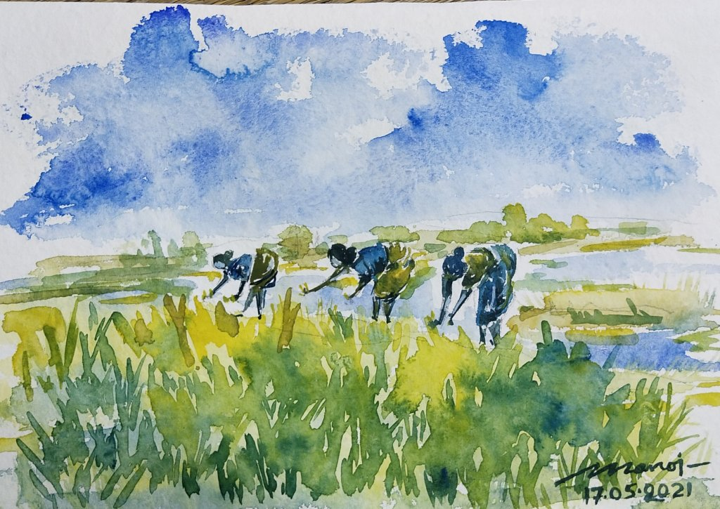 Dt: 17.05.2021 Sub: FARM Watercolor painting on handmade paper inbound7948053284376990069