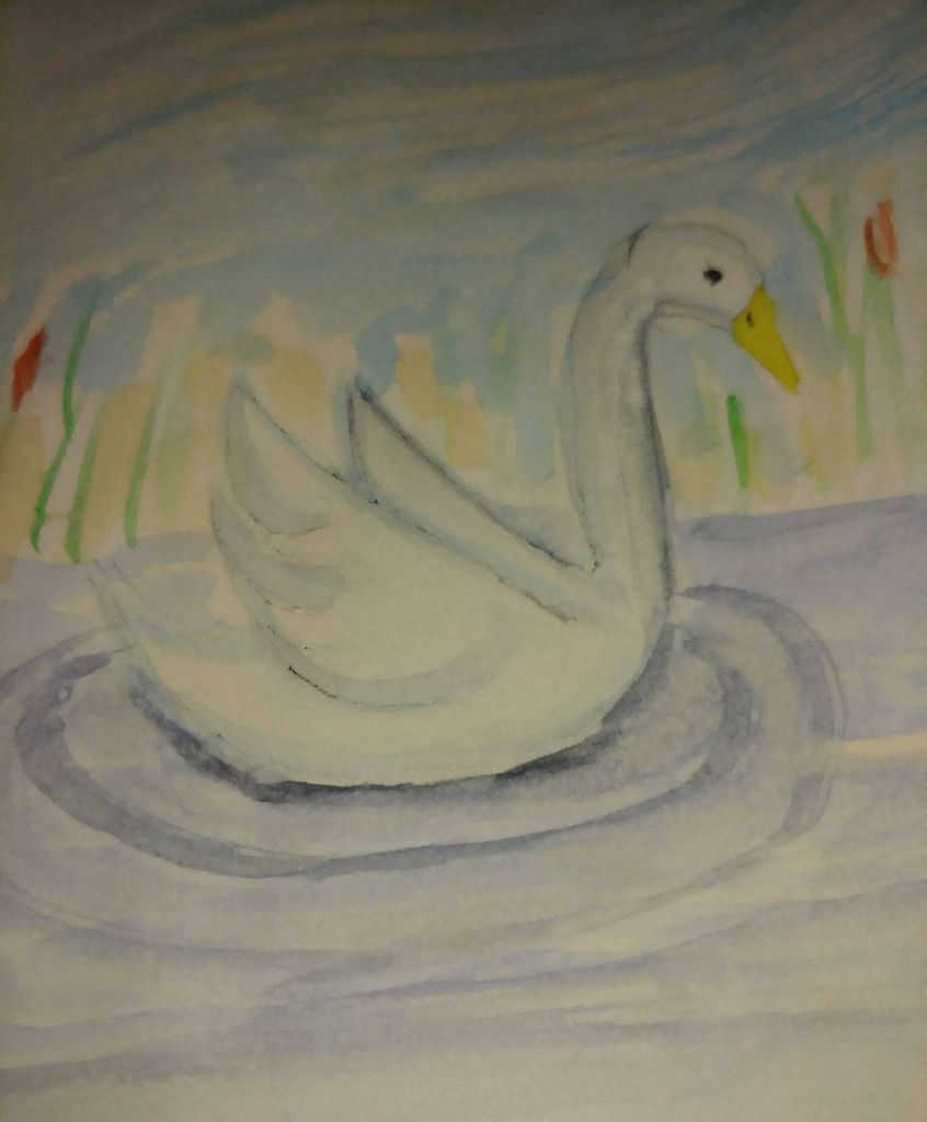 A sketch in watercolour with a simple swandrawing as a base. zwaan