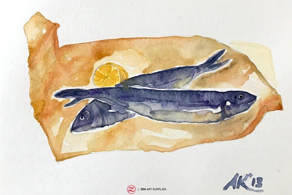 Fish watercolor by Ardak Kassenova