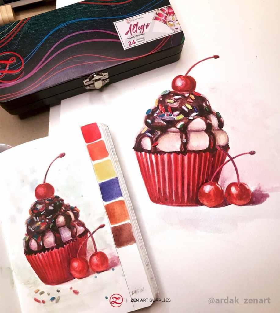 Cupcake and cherries with study watercolor by Ardak Kassenova