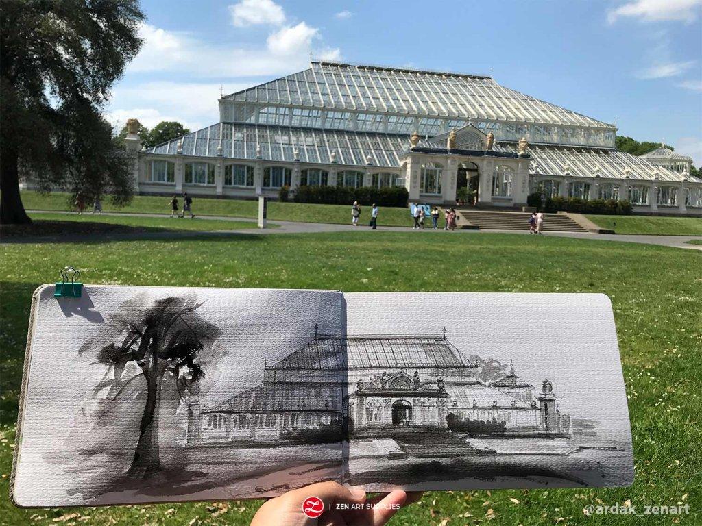 Temperate House Kew Gardens using ink urban sketching