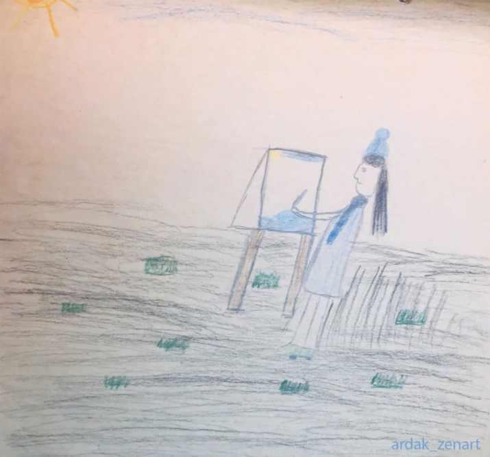 Drawing of self as a future artist by Ardak Kassenova