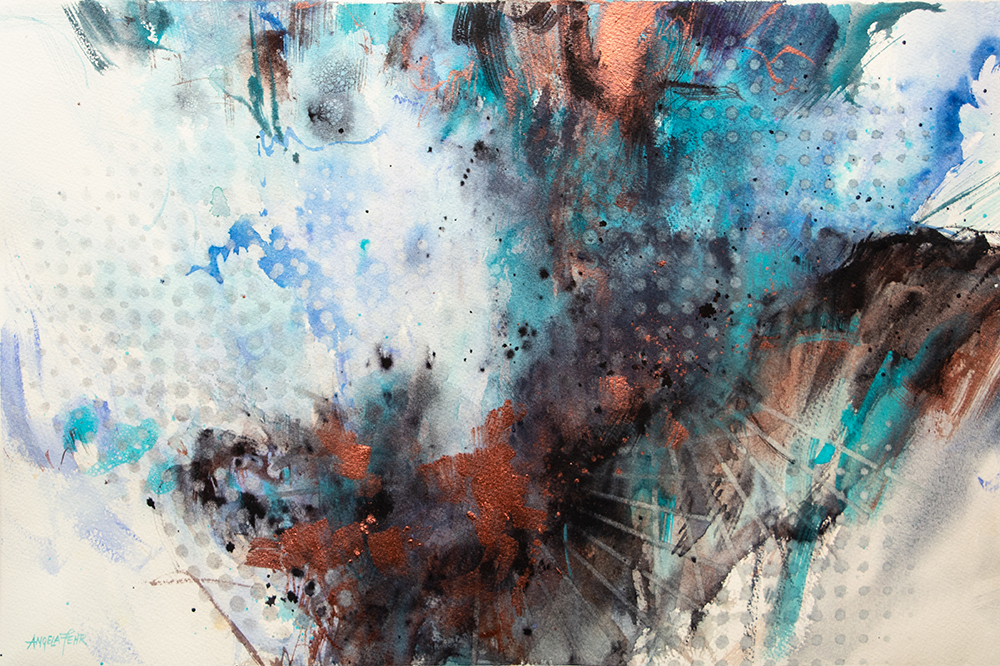 Abstract meditation watercolor painting on Freedom by Angela Fehr