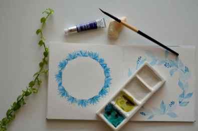 Blue Wedge Brush Watercolor Flower Painting