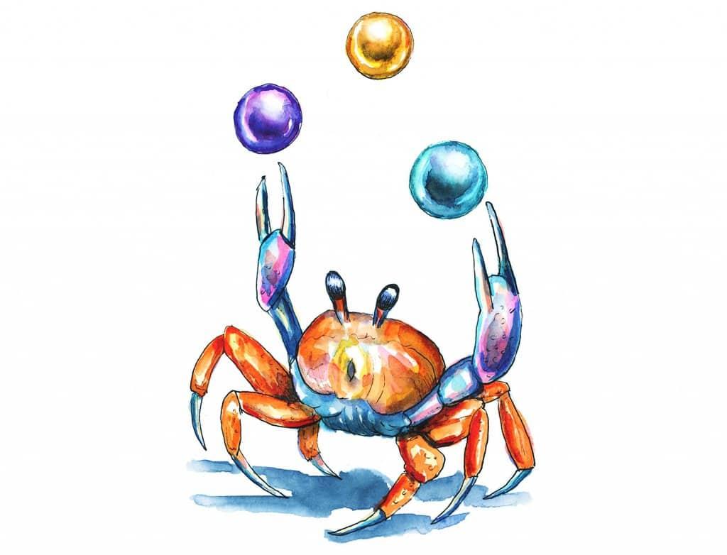 Crab Juggling Pearls Watercolor Illustration Painting