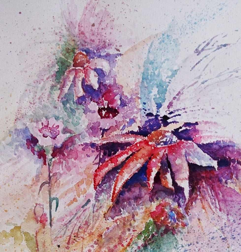 Flowers loose Watercolor Painting by Seyedeh Ayeh Mirrezaei