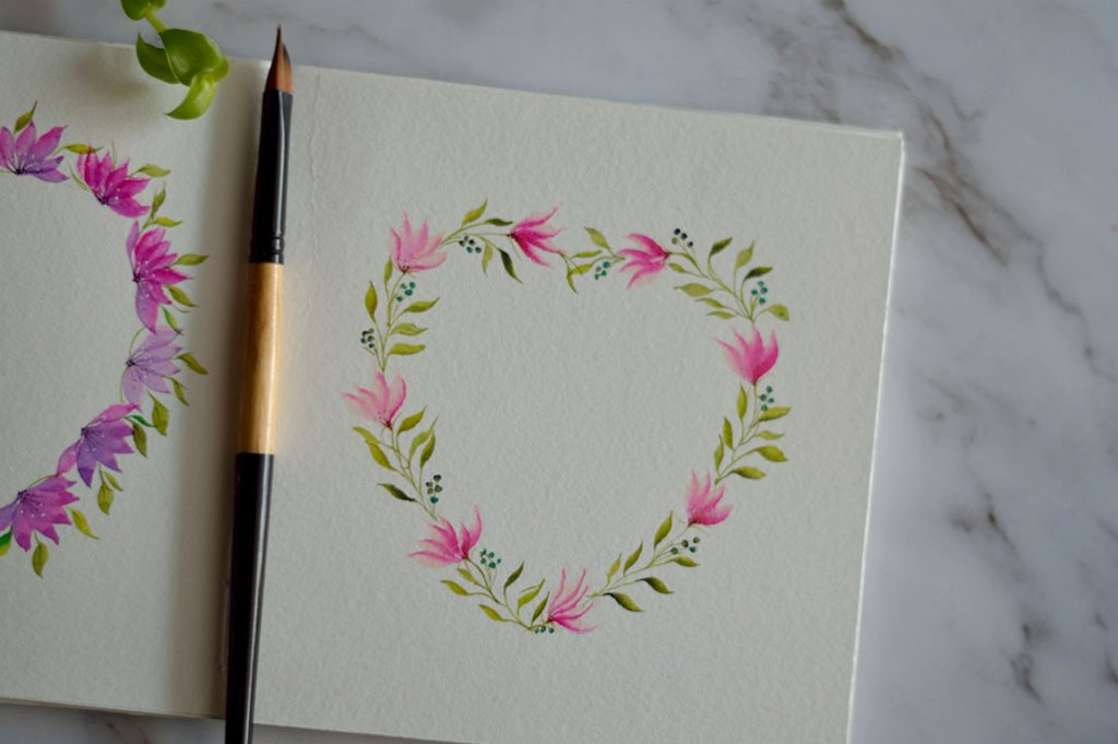 Heart Wreath Watercolor Wedge Brush Floral Painting