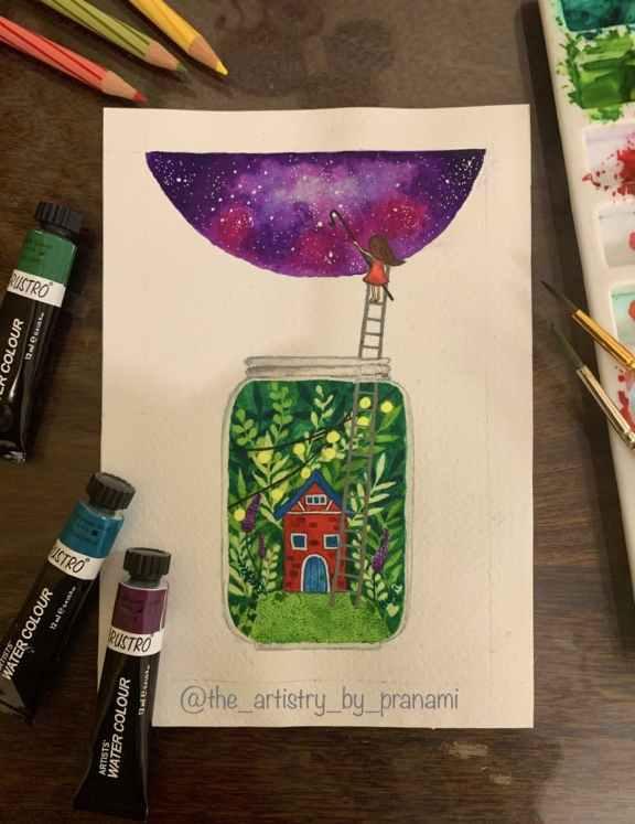 House in Jar Watercolor Painting