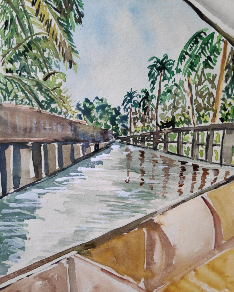 #day7 #vacation #doodlewashjune2021 #worldwatercolorgroup One of the floating markets on the outskir