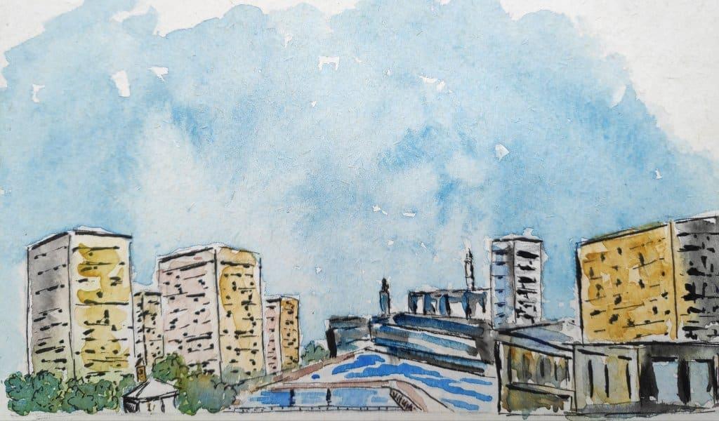 #day9 #cityscape #doodlewashjune2021 #worldwatercolorgroup The cityscape of Providence. IMG_20210609