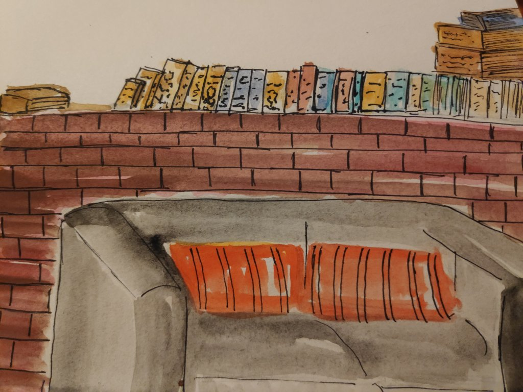 #day14 #books #doodlewashjune2021 #worldwatercolorgroup Some of my dad's books at my parents&#