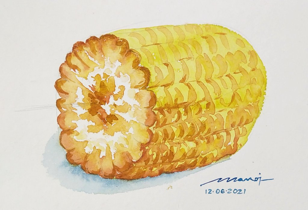 Dt: 12.06.2021 Sub: CORN ON THE COB Watercolor painting on handmade paper IMG_20210619_071801