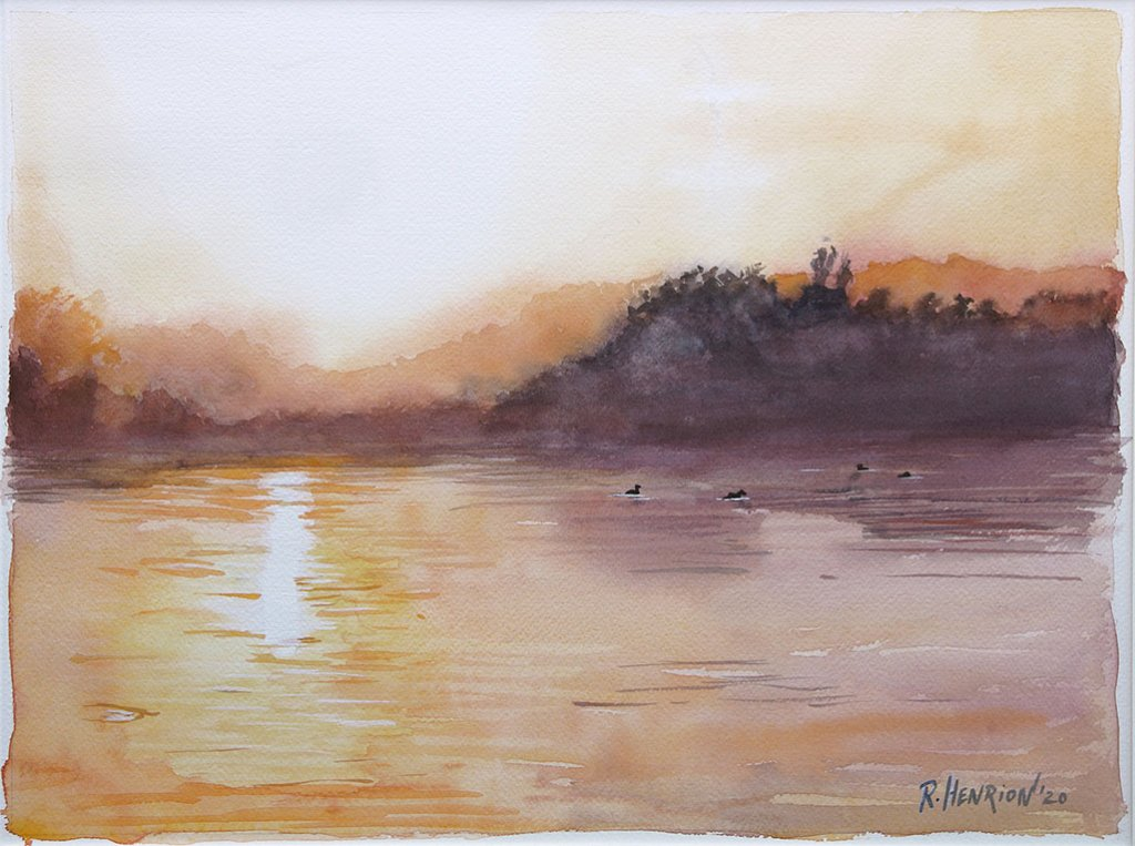 Misty Morning Lake Sun Watercolor Painting by Roland Henrion