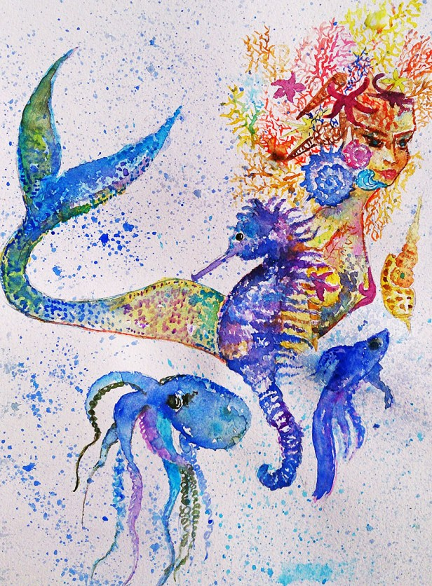 Ocean creatures sealife Watercolor Painting by Seyedeh Ayeh Mirrezaei