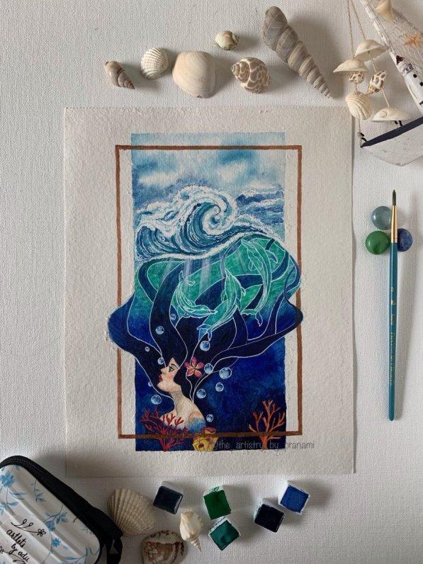 Ocean girl painting by Pranami Poddar
