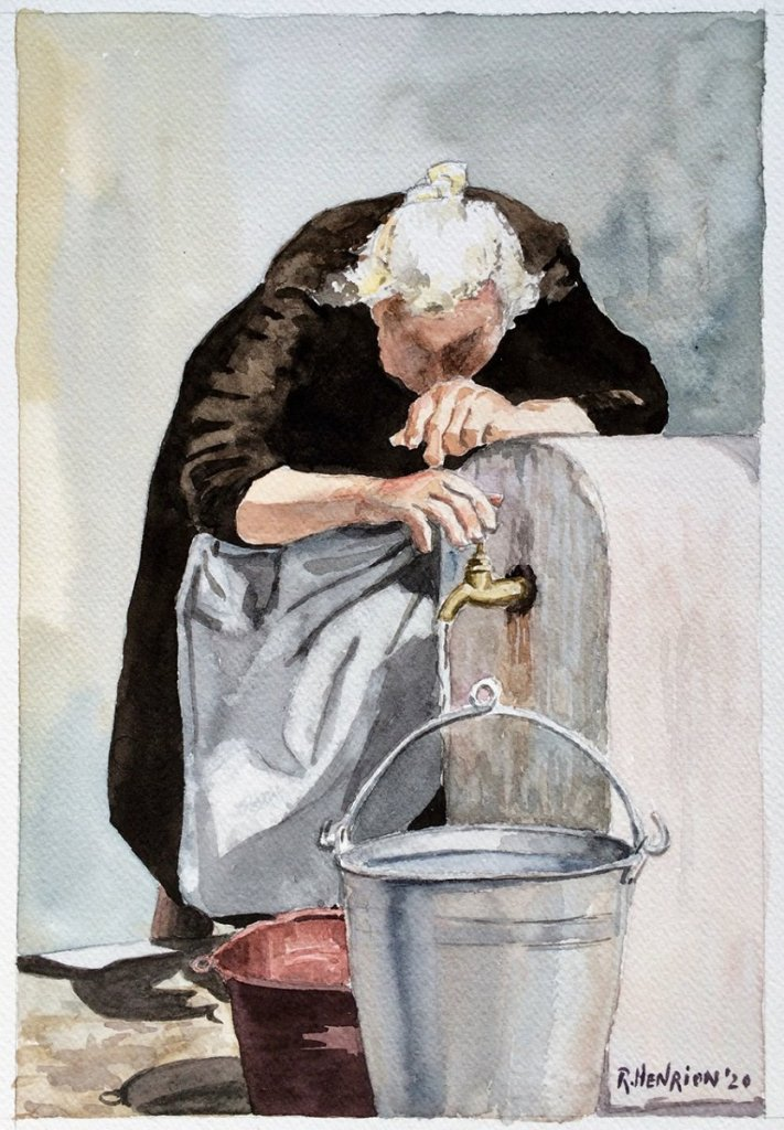 Old woman by the fountain, size 35 x 25 cm. As soon as I finished this watercolor, my wife said: thi