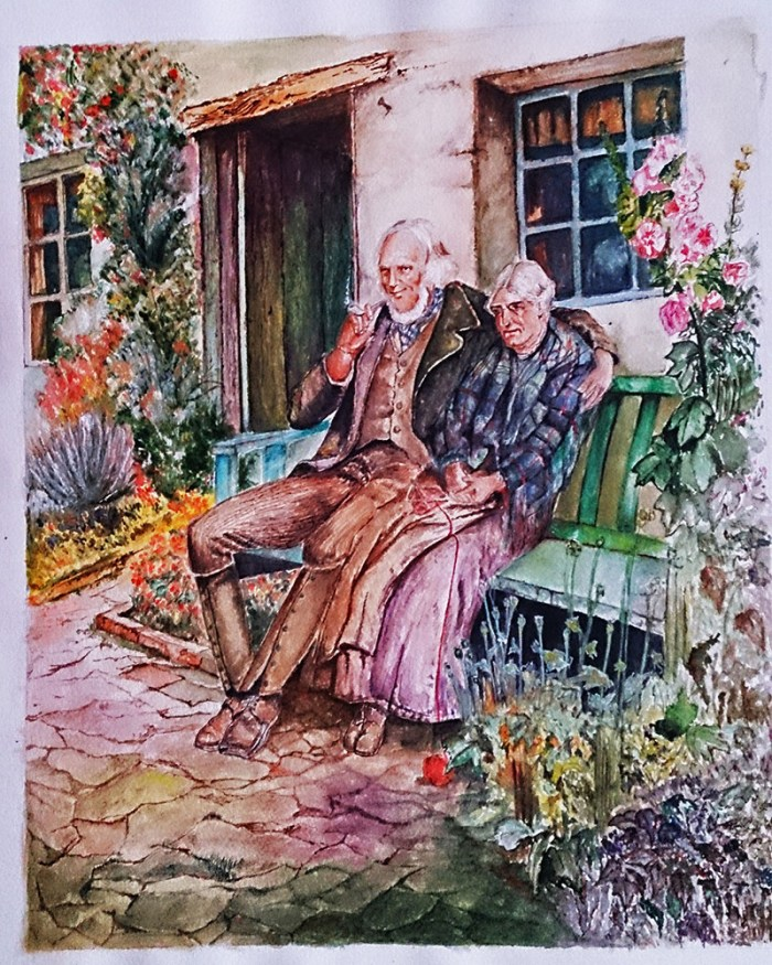 Older Couple Watercolor Painting by Seyedeh Ayeh Mirrezaei