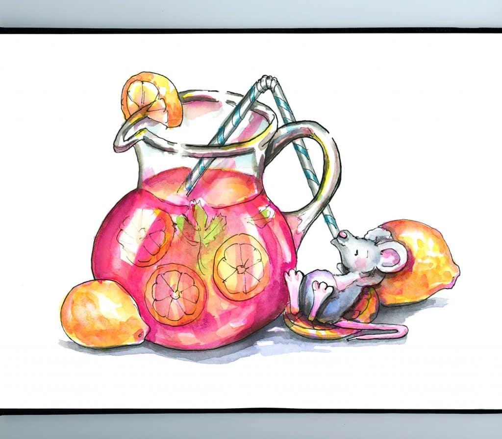 Pink Lemonade Lemons Mouse Drinking Watercolor Illustration Sketchbook Detail