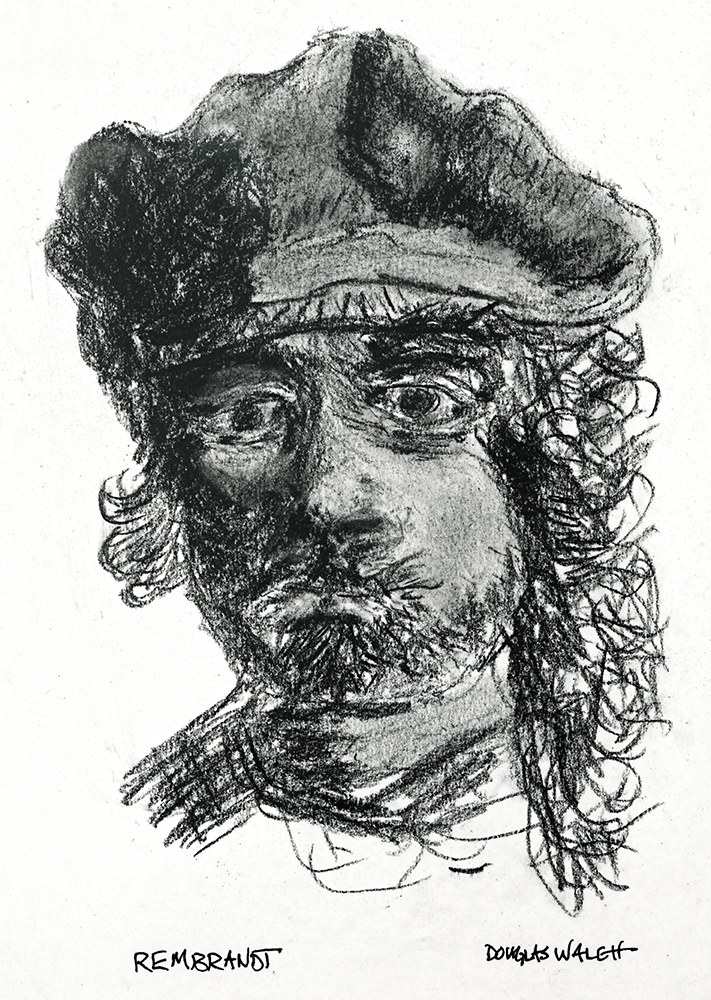 This is my charcoal sketch of Rembrandt's self portrait etching. I've also been admiring