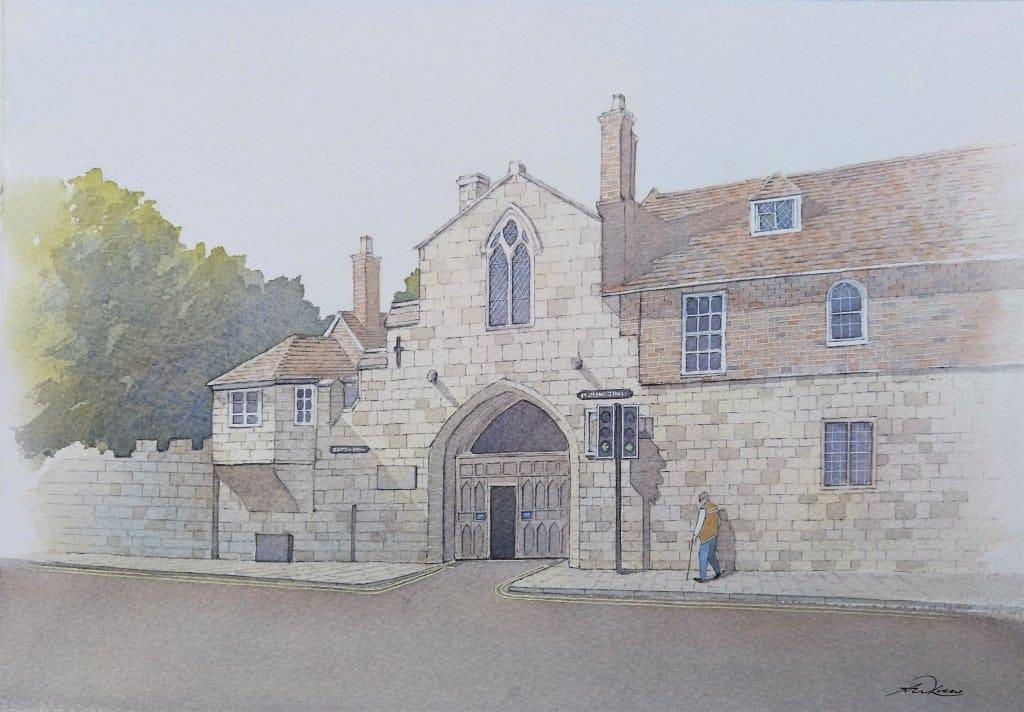 """ St Ann's Gate "", Salisbury, England. Andrew Lucas Watercolour, 24 x 34 cm, I hop"