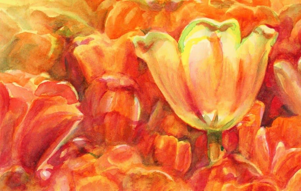 Flower Painting using Aquafine Watercolour by Sandra Strait