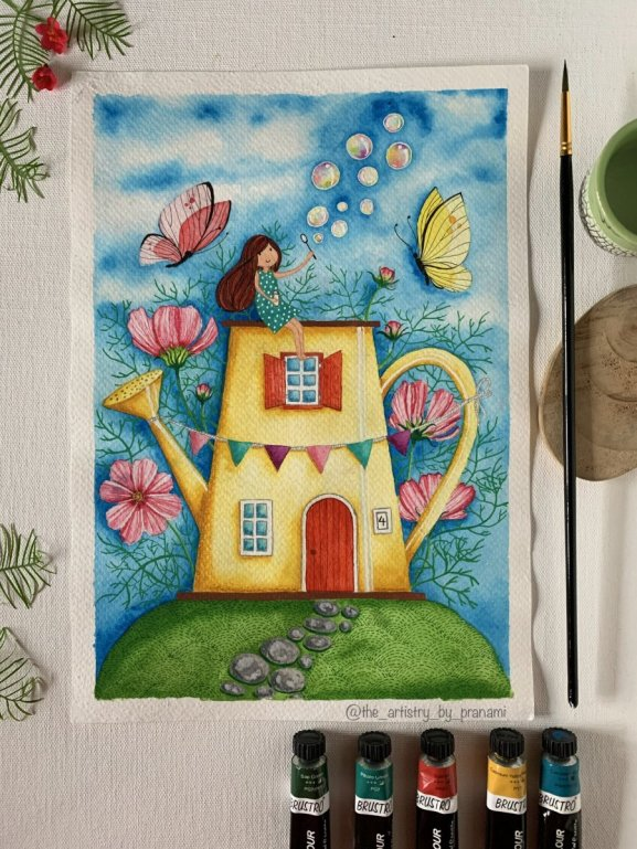 Whimsical Watercolor Painting Teapot House by Pranami Poddar